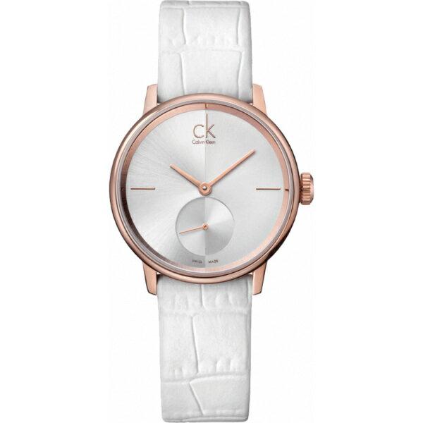 CK 日月光系列(K2Y236K6)小秒針玫瑰金時尚腕錶/白面32mm