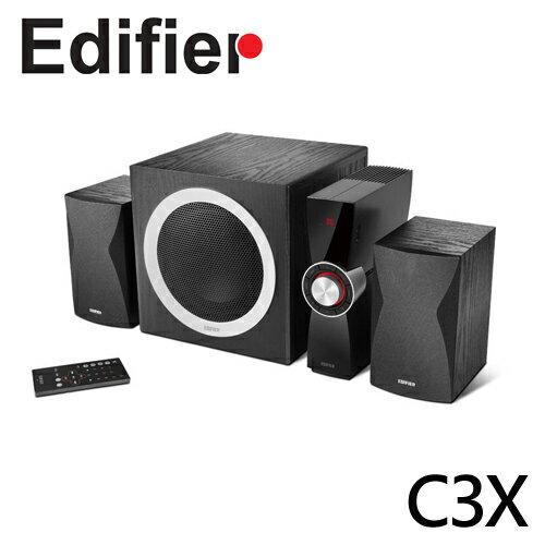 【EDIFIER 漫步者】 支援USB介面多功能 2.1聲道雙立體聲 全木質音箱 多件式低中音多媒體喇叭 C3X