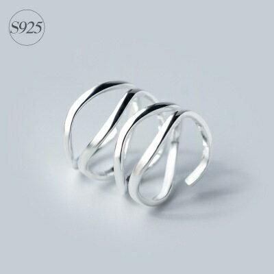 925純銀戒指開口戒~簡約線條多層螺旋七夕情人節 女飾品73dt582~ ~~米蘭 ~ ~