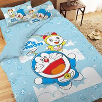 小叮噹週邊商品推薦哆啦A夢-天空漫遊系列-單人三件式床包被套組(藍)