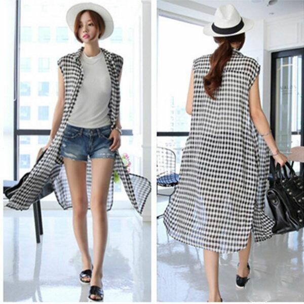 PS Mall 韓版休閒寬鬆黑白格子無袖長版襯衫 罩衫外套【T223】
