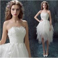 時尚洋裝 小禮服推薦到天使嫁衣【AE218】白色平口蕾絲花片不規則裙紗短禮服˙下架