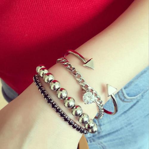 PS Mall 韓版個性箭頭串珠鑲鑽手鍊 C形開口手環 多層次手環手鍊四件組【G1815】