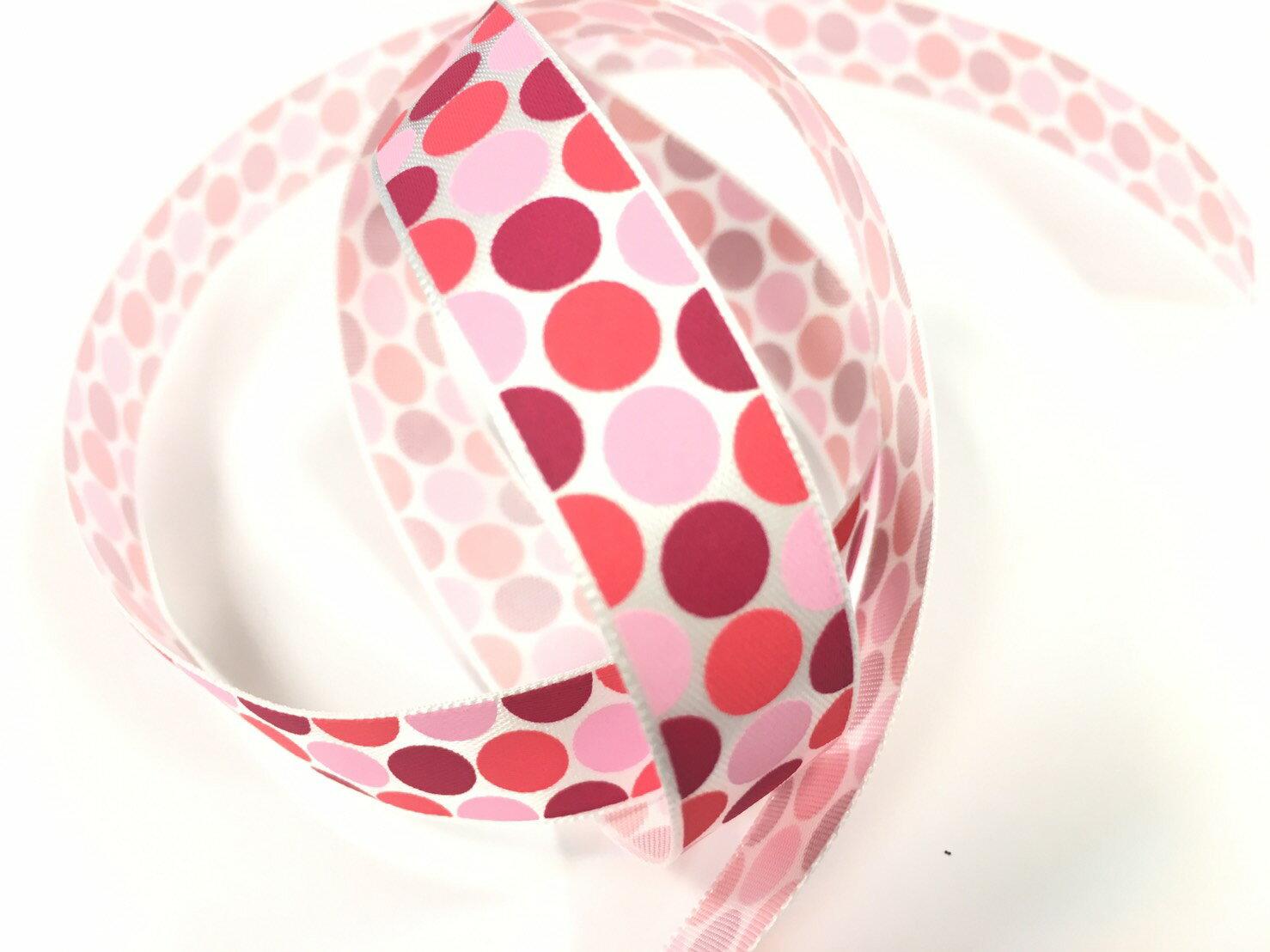 【Crystal Rose緞帶專賣店】單面緞點點15mm3碼裝(3色) 0