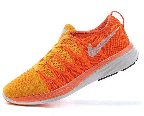 Nike Flyknit Lunar2  運動鞋 休閒鞋 登月6編織飛線慢跑鞋 男鞋網鞋 橘紅白