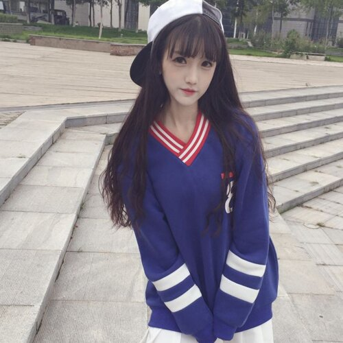 上衣 - V領條紋內刷毛運動風長袖T恤【29199】藍色巴黎 《2色》現貨 + 預購 1