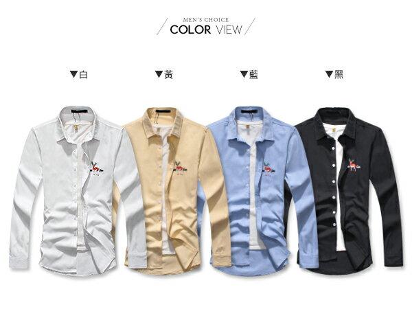 ☆BOY-2☆【NQ97005】韓版襯衫 麋鹿電繡長袖襯衫 1