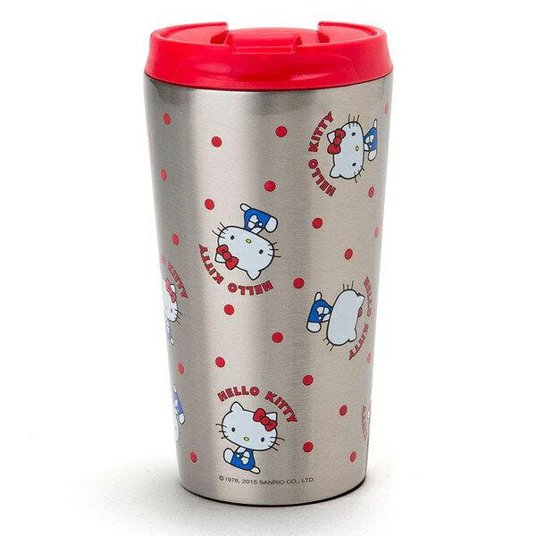 【真愛日本】15071700013手拿杯380ml-不銹鋼紅點坐姿 三麗鷗Hello Kitty凱蒂貓 茶壺 水杯 壺