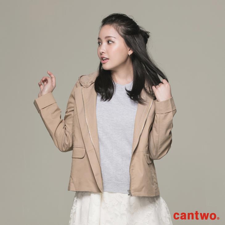 cantwo微光澤連帽短版風衣外套(共三色) 1