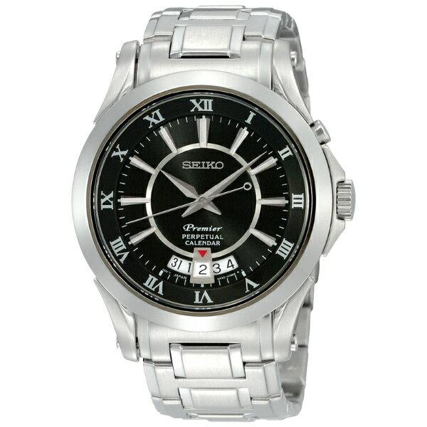 Seiko Premier 6A32-00R0D(SNQ103J1)萬年曆經典羅馬石英腕錶/黑面41mm