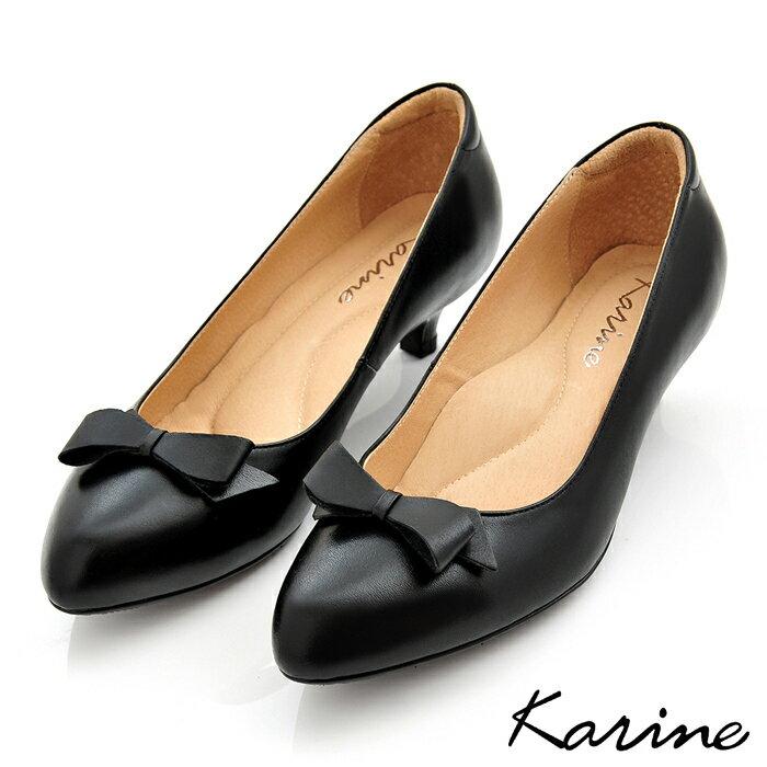 karine(MIT台灣製)全真皮尖頭蝴蝶結低跟鞋-原皮黑色