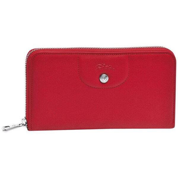 【LONGCHAMP】LE PLIAGE CUIR 系列 拉鍊皮夾 -  紅色