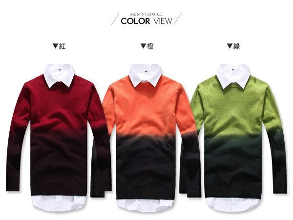☆BOY-2☆【PPK86032】視覺系圓領雙色漸層針織長袖毛衣 1