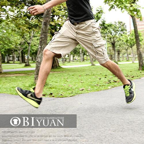 有加大尺碼短褲【B018】OBI YUAN韓版美式休閒素面百搭多口袋工作短褲共3色