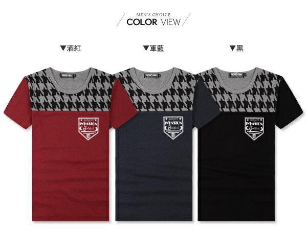 ☆BOY-2☆【JBA153】短袖T恤韓潮流修身型男滾邊拼接圖騰INVASIONT短T 1