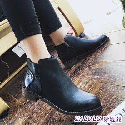 ☼zalulu愛鞋館☼ IE083 預購英倫美腿側拉鍊鈕扣平底短筒擦色短靴-偏小-黃/黑-36-39