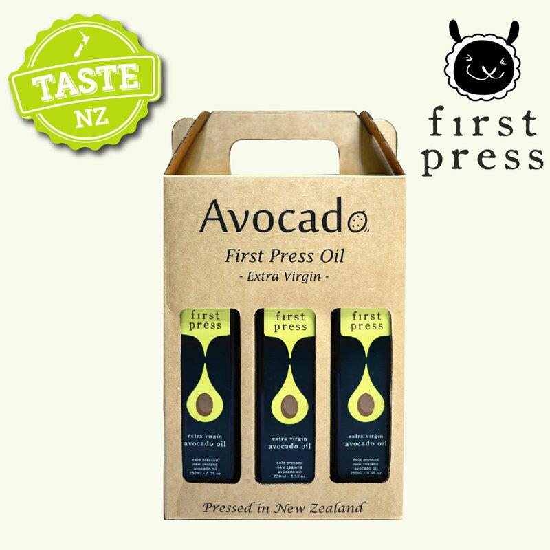 【壽滿趣- 紐西蘭原裝進口】First Press頂級冷壓初榨酪梨油(250ml 三瓶禮盒裝) 0
