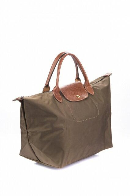 [1623-M號] 國外Outlet代購正品 法國巴黎 Longchamp 短柄 購物袋防水尼龍手提肩背水餃包 枯葉草 3