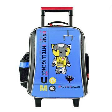 X射線【Cb3308c】UnMe基本款鏡面三段式拉桿書包(藍)3308台灣製造,開學必備/兒童書包/雙肩包/防水雨套