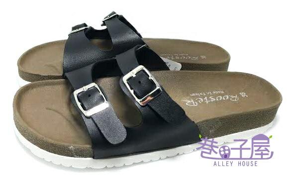 【巷子屋】ROOSTER公雞 女款經典勃肯二槓/條拖鞋 [2331] 黑色 MIT台灣製造 超值價$198