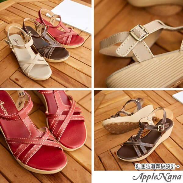 AppleNana。不敗夏日必備真皮編織楔型涼鞋【QG86091280】蘋果奈奈 2