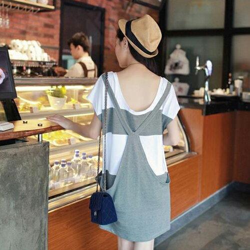 短洋裝 - 背後吊帶假兩件條紋口袋寬鬆短袖連衣裙【29116】藍色巴黎《2色》現貨+預購 2