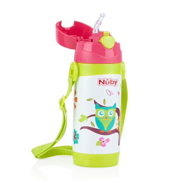 Nuby - 不銹鋼真空背帶水壺 (細吸管) 360ml 貓頭鷹 - 限時優惠好康折扣