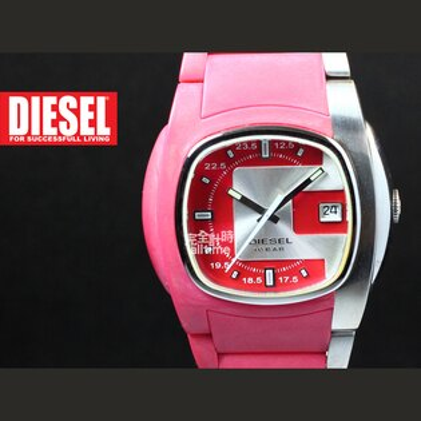 【完全計時】手錶館│DIESEL 青春時尚 粉紅甜心 橡膠腕錶 DZ4079 下殺特價