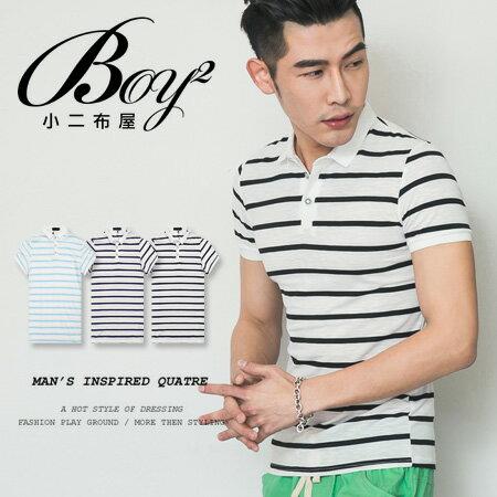 ☆BOY-2☆【NQ93004】美式休閒條紋修身短袖POLO衫 0
