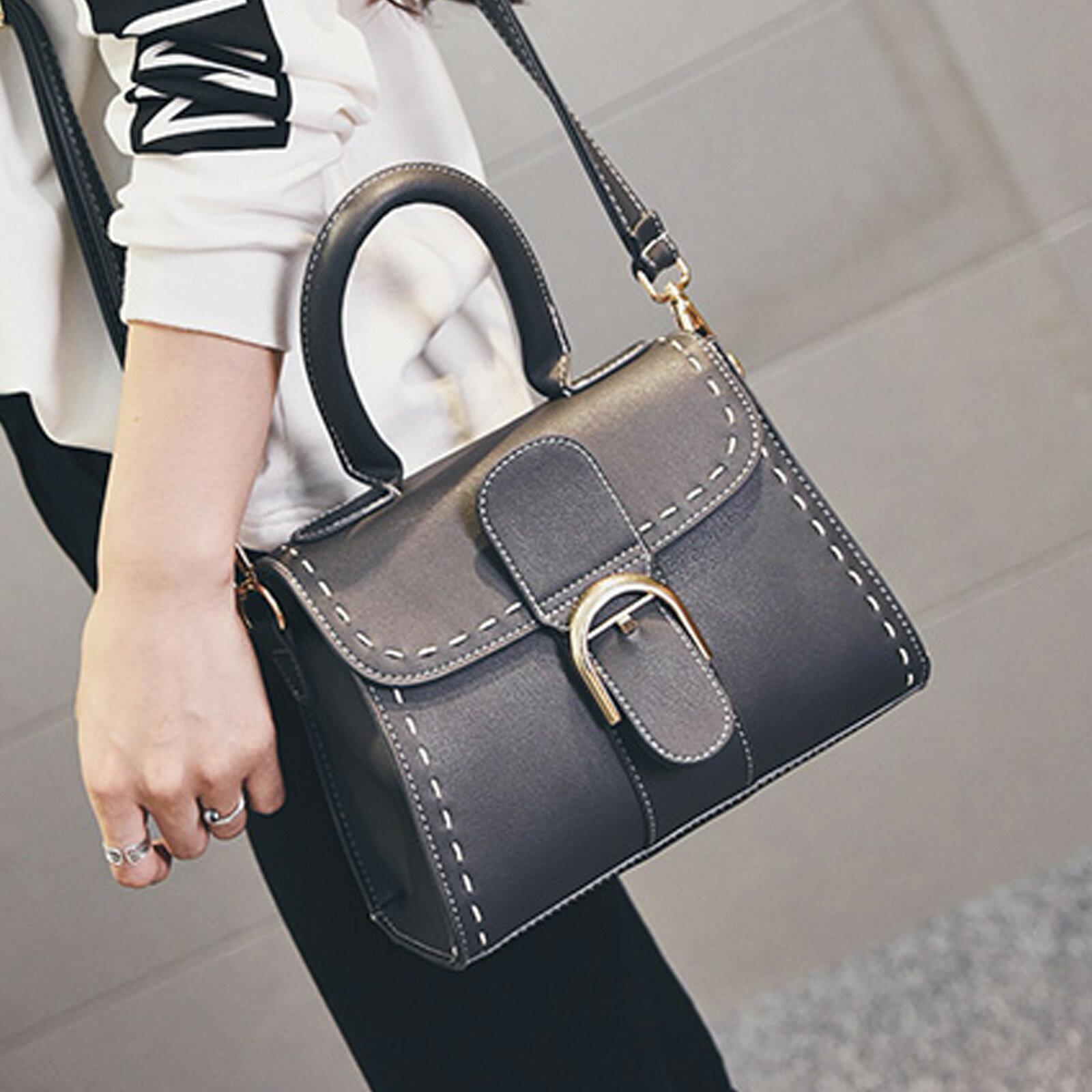 手提包 韓版時尚扣環小方包側背包【O3153】☆雙兒網☆ 4