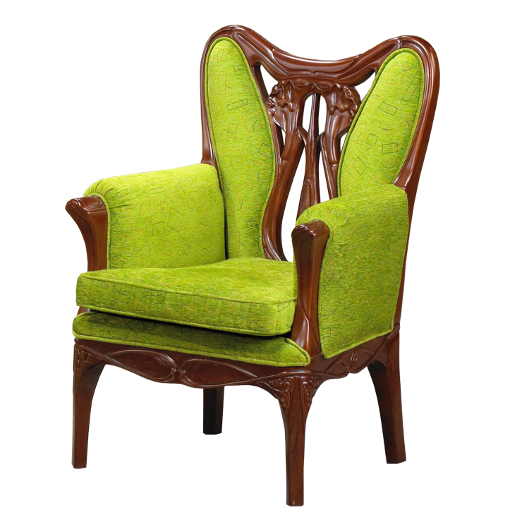 花卉雕刻單人沙發椅 100^%印尼桃花心木 新藝術時期風格