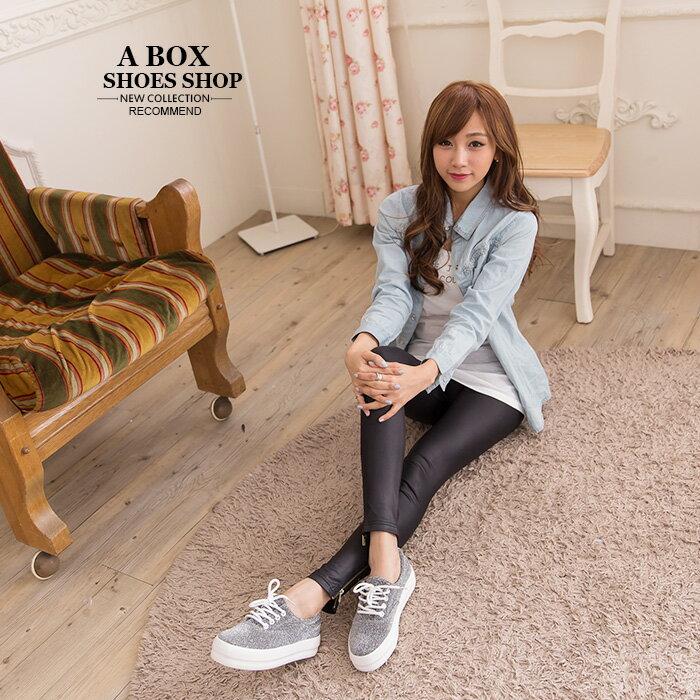 格子舖*【KRW-658】韓國街頭學院風 低調奢華閃耀金蔥 繫帶3.5CM厚底增高鬆糕鞋 3色 1