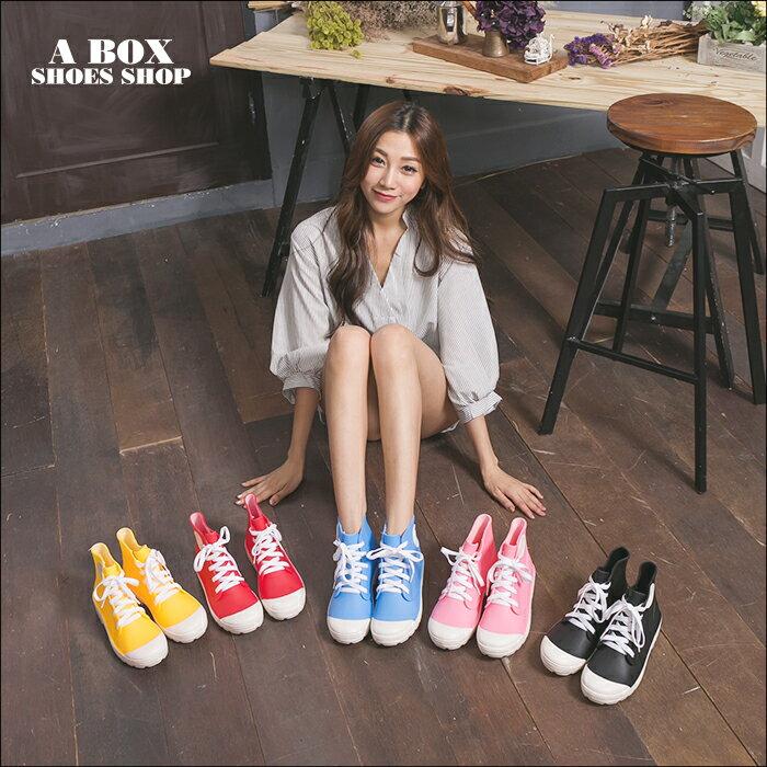 格子舖【AR038】晴雨兩穿2ways 超防水  韓版綁帶造型雨鞋 雨靴 帆布鞋 5色 2