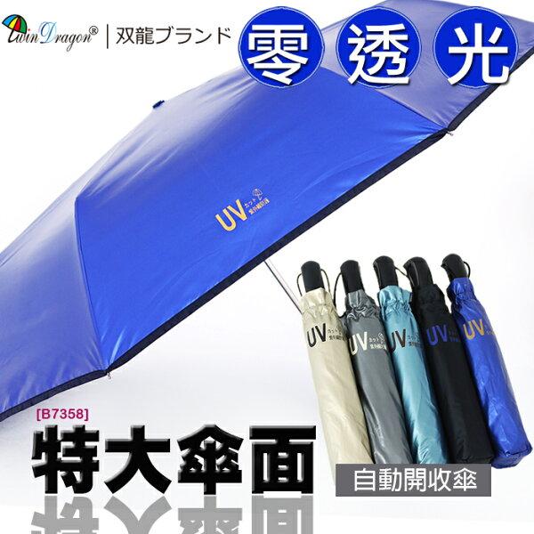 【雙龍牌】超大四人傘零透光色膠自動傘晴雨傘(海洋藍下標區)。抗UV防曬降溫防風自動開收傘B7358
