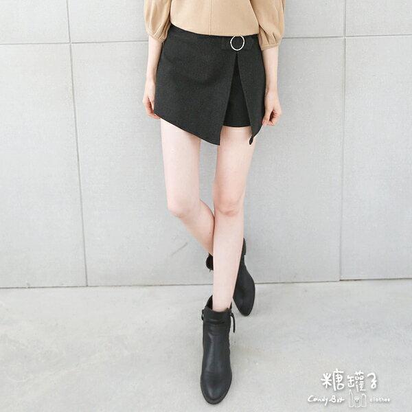★原價398五折199★糖罐子金屬環開衩磨毛褲裙→預購【KK4896】 2