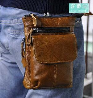 【喜番屋】真皮頭層牛皮男士可裝7吋手機腰掛皮夾皮包手機包手機套卡片包卡片夾男夾男包腰包LB90