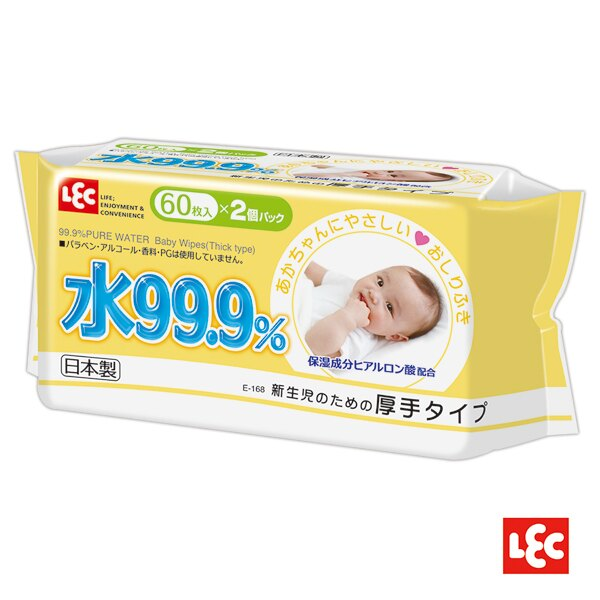 日本LEC - 純水99.9%日本製濕紙巾(柔濕巾) 厚型 60抽 16串/箱 (32包) 2