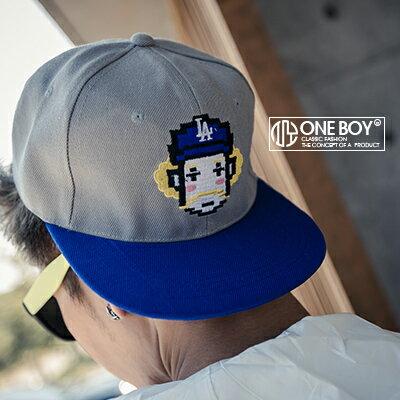 『One Boy 』【NU307】電繡色塊戴帽子先生圖樣棒球帽