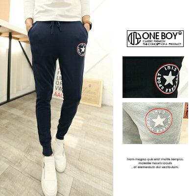 『 One Boy 』【N179】極簡不單調小圖樣休閒棉質束口褲