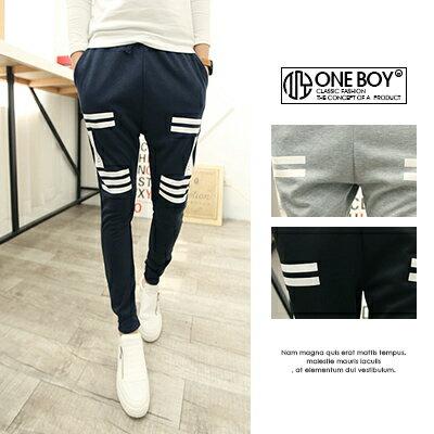 『 One Boy 』【N2176】條紋翻玩內斂字樣休閒棉質束口褲