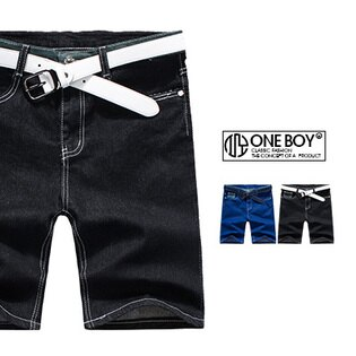 『 One Boy 』【N3710】個性潮感拼接概念牛仔短褲
