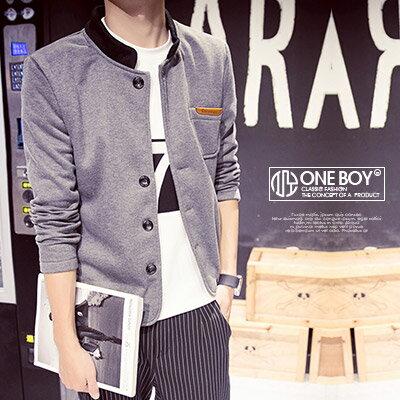 『 One Boy 』【N15923】毛料立領剪裁拼接款軍裝外套