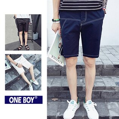 『 One Boy 』【N51210】春夏無印不規則縫線設計休閒短褲