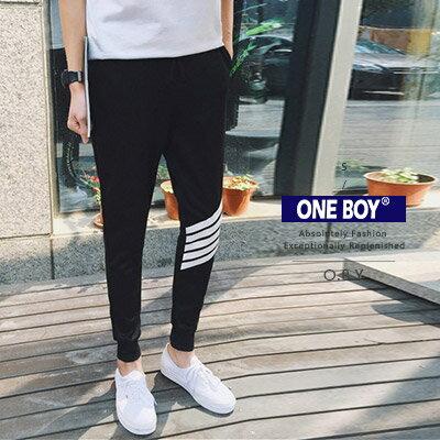 『 One Boy 』【N24914】早春拚色剪裁春潮關鍵休閒束口褲