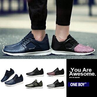 『 One Boy 』【R65128】全新定義帥氣流線拼接休閒運動潮鞋