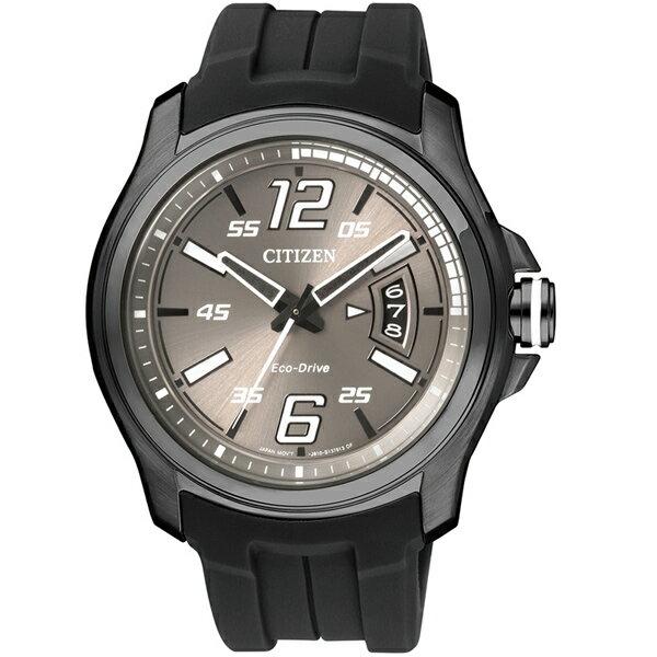 CITIZEN星辰AW1354-07H炫黑機械感光動能腕錶/灰面43mm