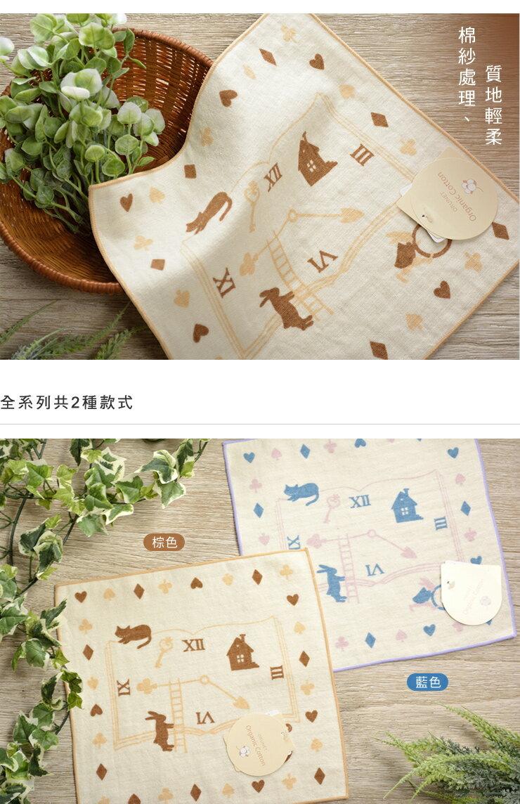 日本今治 - ORUNET - 時鐘印花手帕(棕)《日本設計製造》《全館免運費》,有機棉,純棉100%,觸感細緻質地柔軟,吸水性強,日本設計製造,天然水洗滌工法,不使用螢光染料,不添加染劑