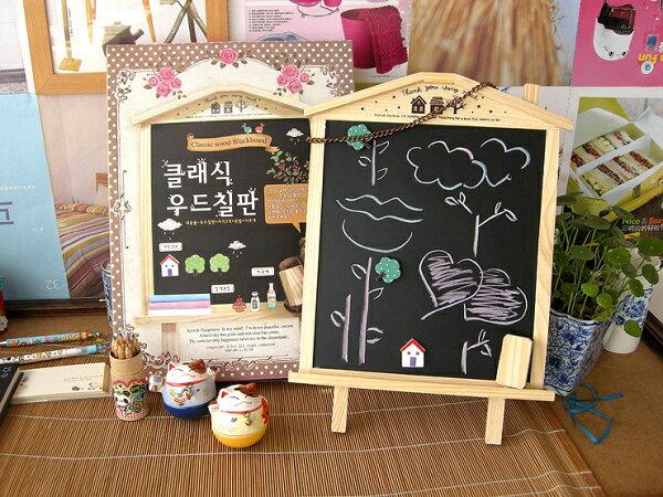 韓國2way可掛可立兩用迷你小黑板 磁性木質留言板#NI010059
