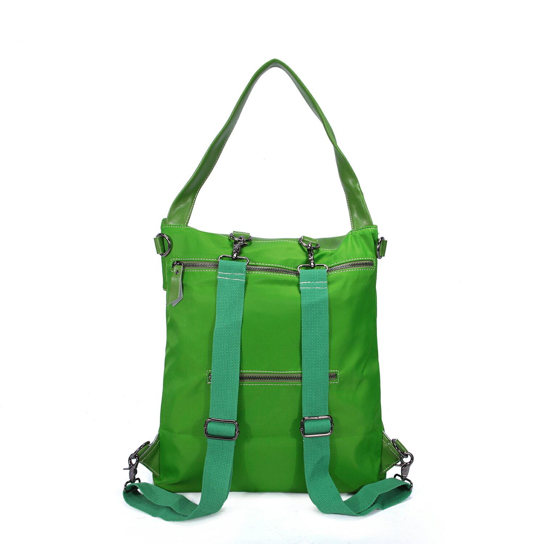 BEIBAOBAO夏季旅行防水布配真皮兩用後揹包(橄欖綠) 4