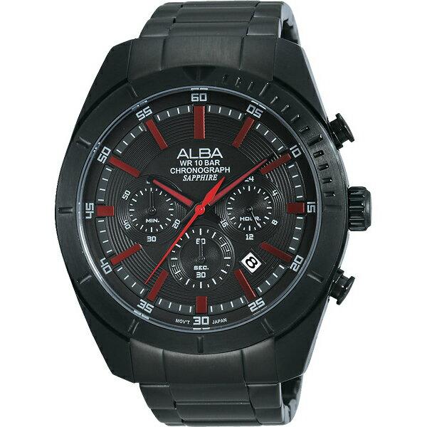 ALBA VD53-X150R(AT3605X1)魅力黑紅色計時腕錶/黑面45mm